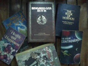 Aside from textbooks, these are books that I used to read when I was in grade school. I was having a hard time to understand, after I reached coed and reread it then I have come to fully understand the contents. I considered reading books from other religion too. Curiosity sometimes gets the better of me. :-)