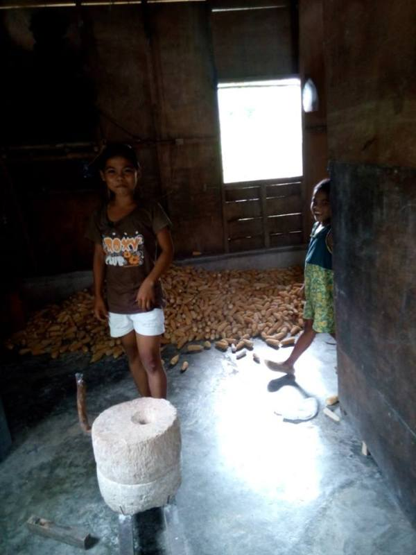Since this community is located in a mountainous area, one of the industries here is farming where they mainly get their food to eat. Scattered on the floor are corn kernels which are then grounded in that traditional stonehenge grinder producing corn grits as their staple food. (Thanks Ronald Marzon for the image.)