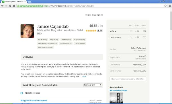 My Odesk Profile that launched a handful clients. ;-)